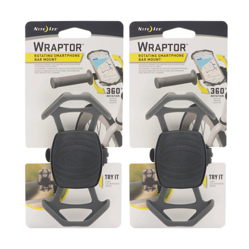 Nite Ize Wraptor Rotating Smartphone Bar Mount Black Phone Holder Bike (2-Pack)