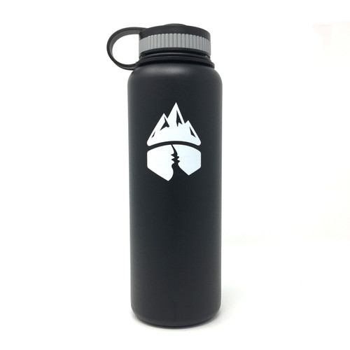 Campsite Essentials 40oz Wide Mouth Insulated Bottle, Midnight Black (2-Pack)