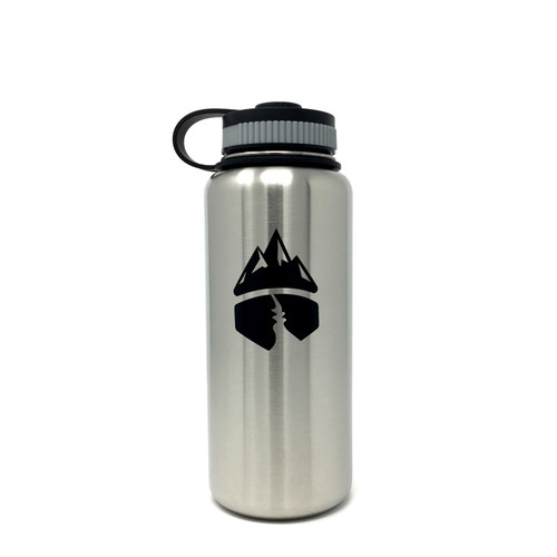 Campsite Essentials 32oz Wide Mouth Insulated Bottle, Brushed Stainless (2-Pack)