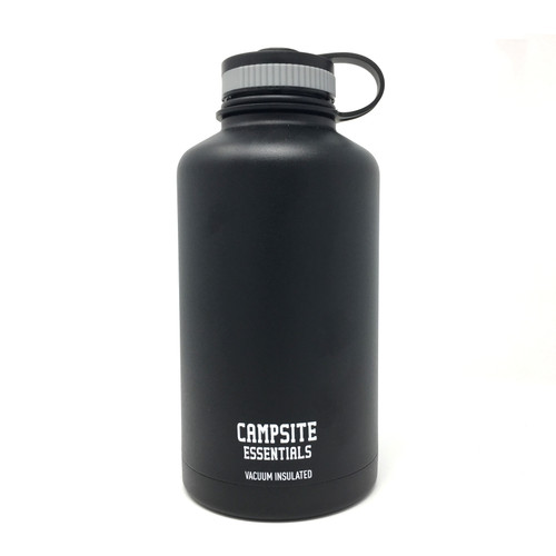 Campsite Essentials 64oz Wide Mouth Insulated Bottle, Midnight Black (2-Pack)