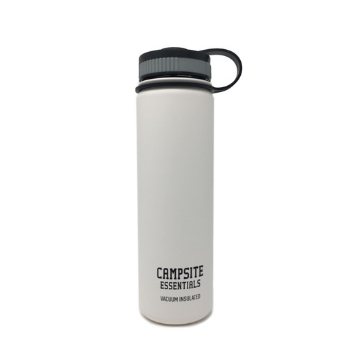 Campsite Essentials 22oz Wide Mouth Insulated Bottle, Avalanche White (2-Pack)