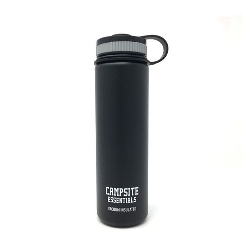 Campsite Essentials 22oz Wide Mouth Insulated Bottle, Midnight Black (2-Pack)