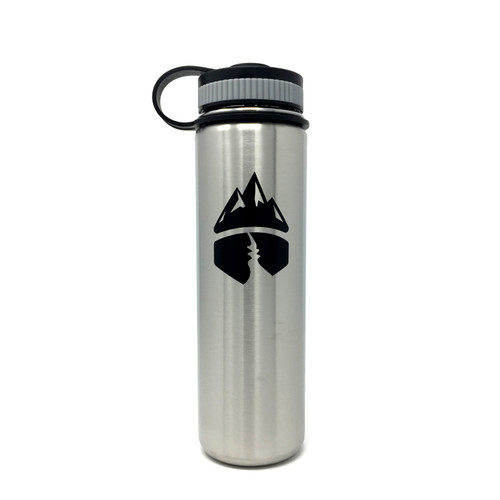 Campsite Essentials 22oz Wide Mouth Insulated Bottle, Brushed Stainless (2-Pack)