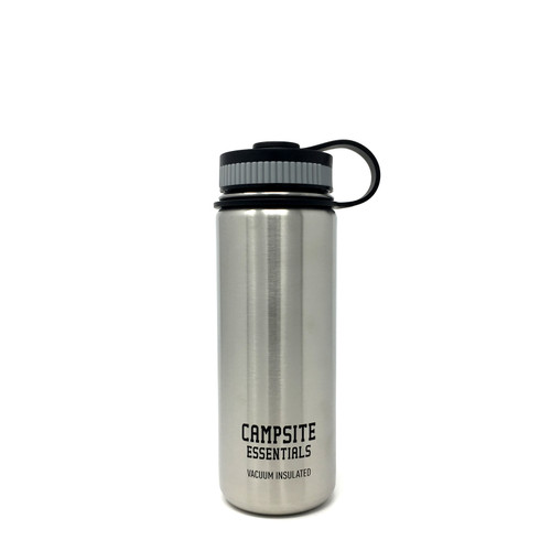Campsite Essentials 18oz Wide Mouth Insulated Bottle, Brushed Stainless (2-Pack)