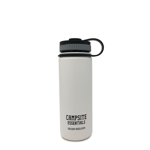 Campsite Essentials 18oz Wide Mouth Insulated Bottle, Avalanche White (2-Pack)