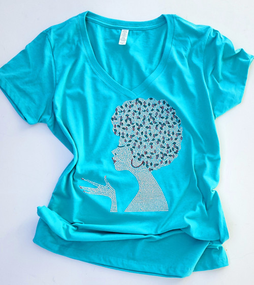 Afro Woman Tahiti Blue T-Shirt