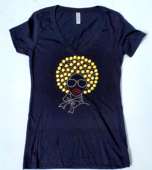 Golden Afro Chic with Shades T-Shirt