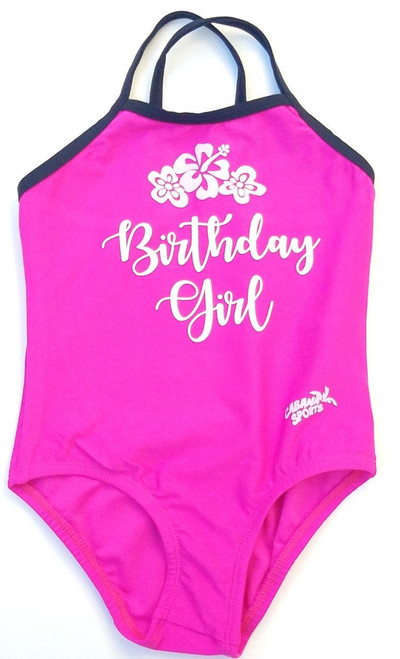 Personalized Pink Birthday Girl Bathing Suit