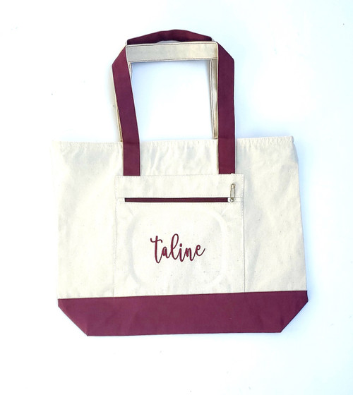 Canvas Tote Bag with Zipper Natural and Maroon