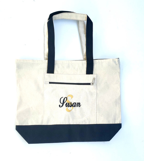 Canvas Tote Bag with Zipper Natural and Navy Blue