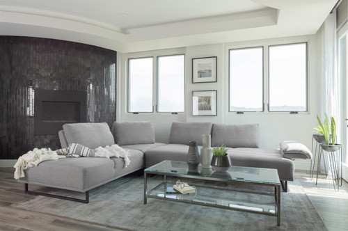 Arden Sectional in Taupe Woven Fabric