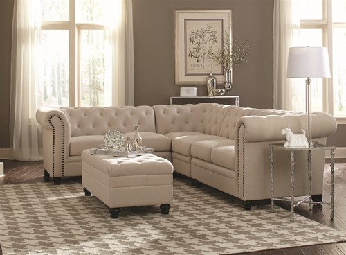 Roy Sectional (3pc) in Oatmeal Linen-like