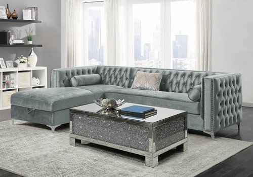 Bellaire Sectional Silver Velvet