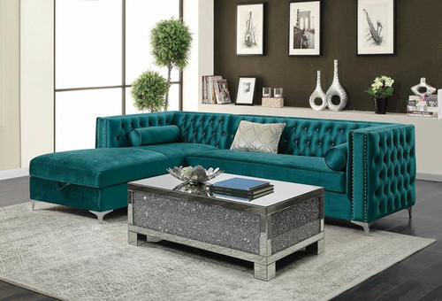 Bellaire Sectional Teal Velvet