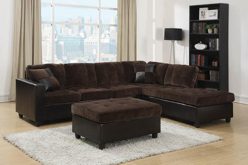 Mallory Sectional Dark Chocolate Padded Textured Velvet