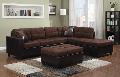 Mallory Sectional Dark Brown Padded Textured Velvet