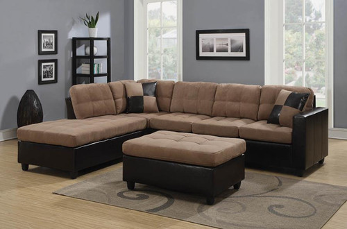 Mallory Sectional Tan Microfiber/Leatherette