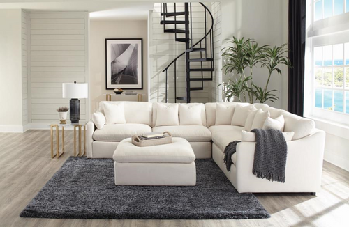 Hobson Sectional Off White Linen-like 5 Pc