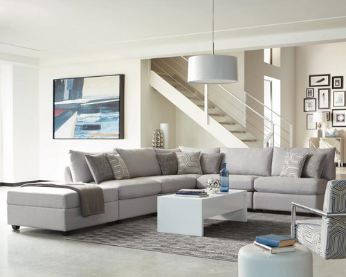 Cambria Sectional Grey Linen-like 5 PC
