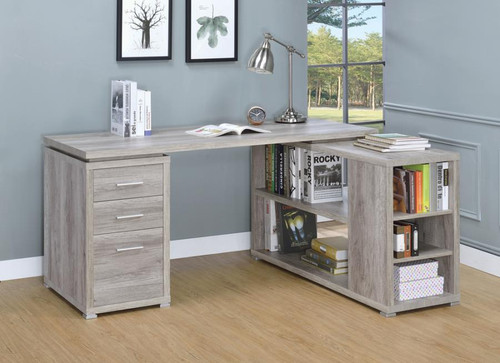 YVETTE L SHAPED GREY DRIFT DESK