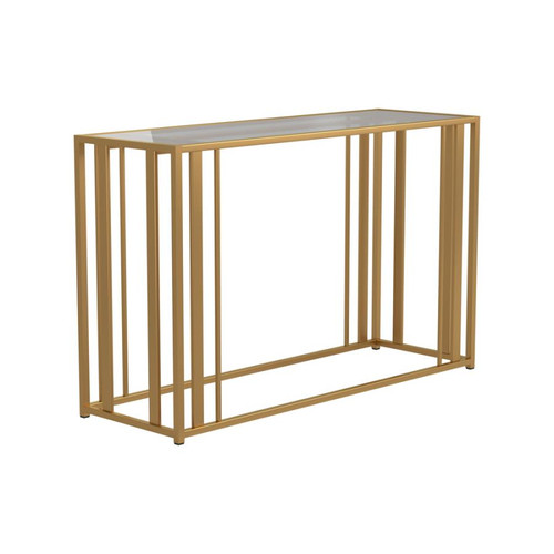 Matte brass sofa table
