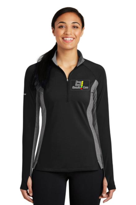 drr ladies black grey contrast sport-tek pullover front