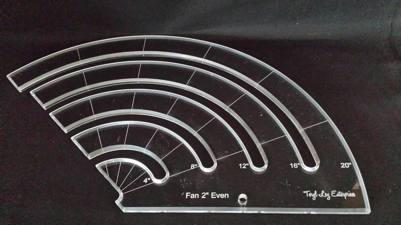 """3/8"""" Template, Fan 2"""" Even Slotted Ruler, Large"""