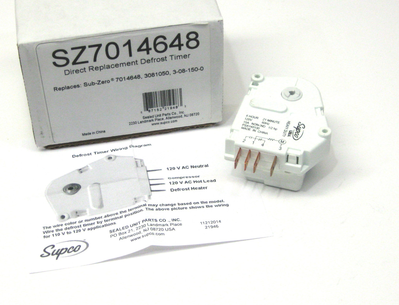Supco Refrigerator Defrost Timer Mccombs Supply Co Sz7014648