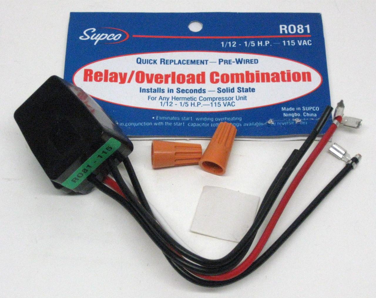OVERLOAD PROTECTOR RELAY 1//8 HP 115V FOR REFRIGERATION COMPRESSORS BAG OF 5 PCS