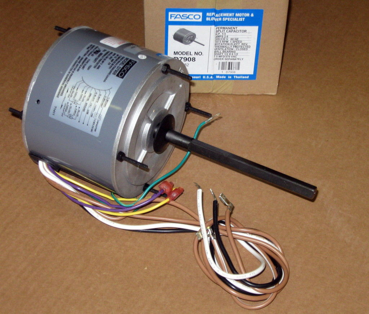 d7908 fasco 1/3 hp 1075 rpm ac air conditioner condenser fan motor tenv -  mccombs supply co inc  mccombs supply