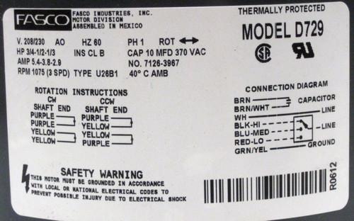 d72910 fasco 3/4 hp 1075 rpm 208230 v 3 speed furnace blower fan motor w/  cap