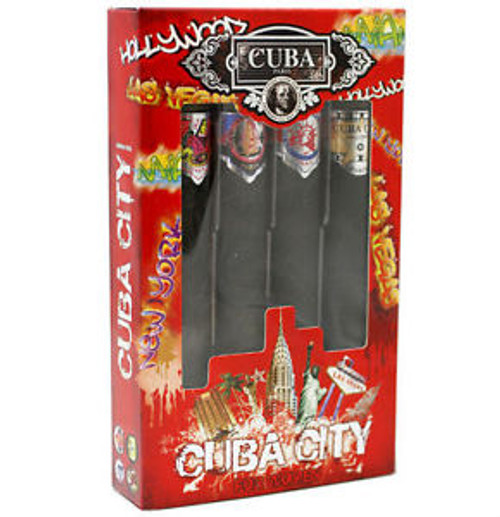Cuba City Cologne 4 Piece Gift Set For Men With New York Miami Las Vegas & Hollywood