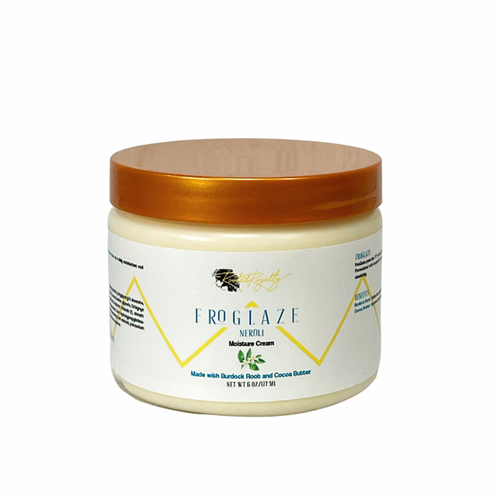 FroGlaze Neroli Moisture Cream is an ultra hydrating cream made formulated with burdock root and cocoa butter to build hair protein and improve hair elasticity.
