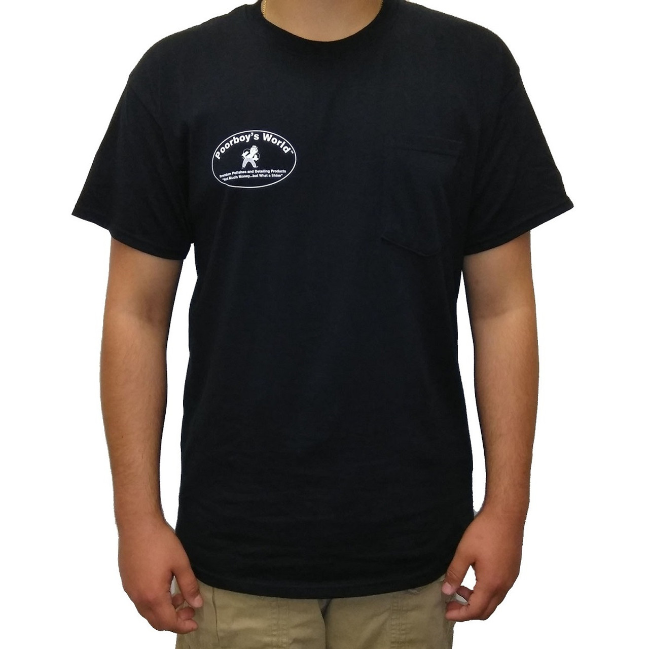Poorboy's World Black T-Shirt w/ Pocket - Large - Front