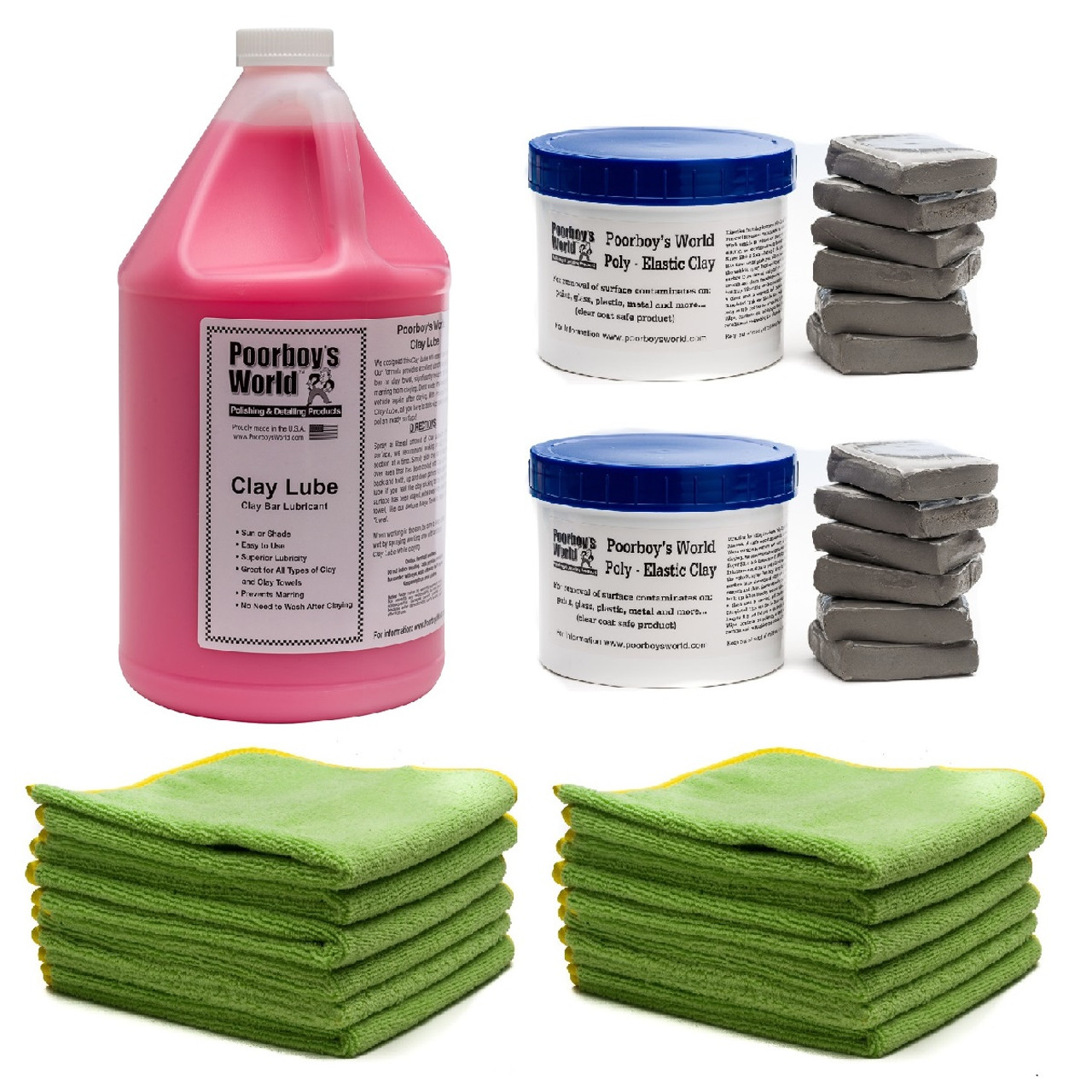 Pro Shop Clay Bar Kit - 12 Clay Bars, Gallon Clay Lube, 12 DMT Microfiber Towels