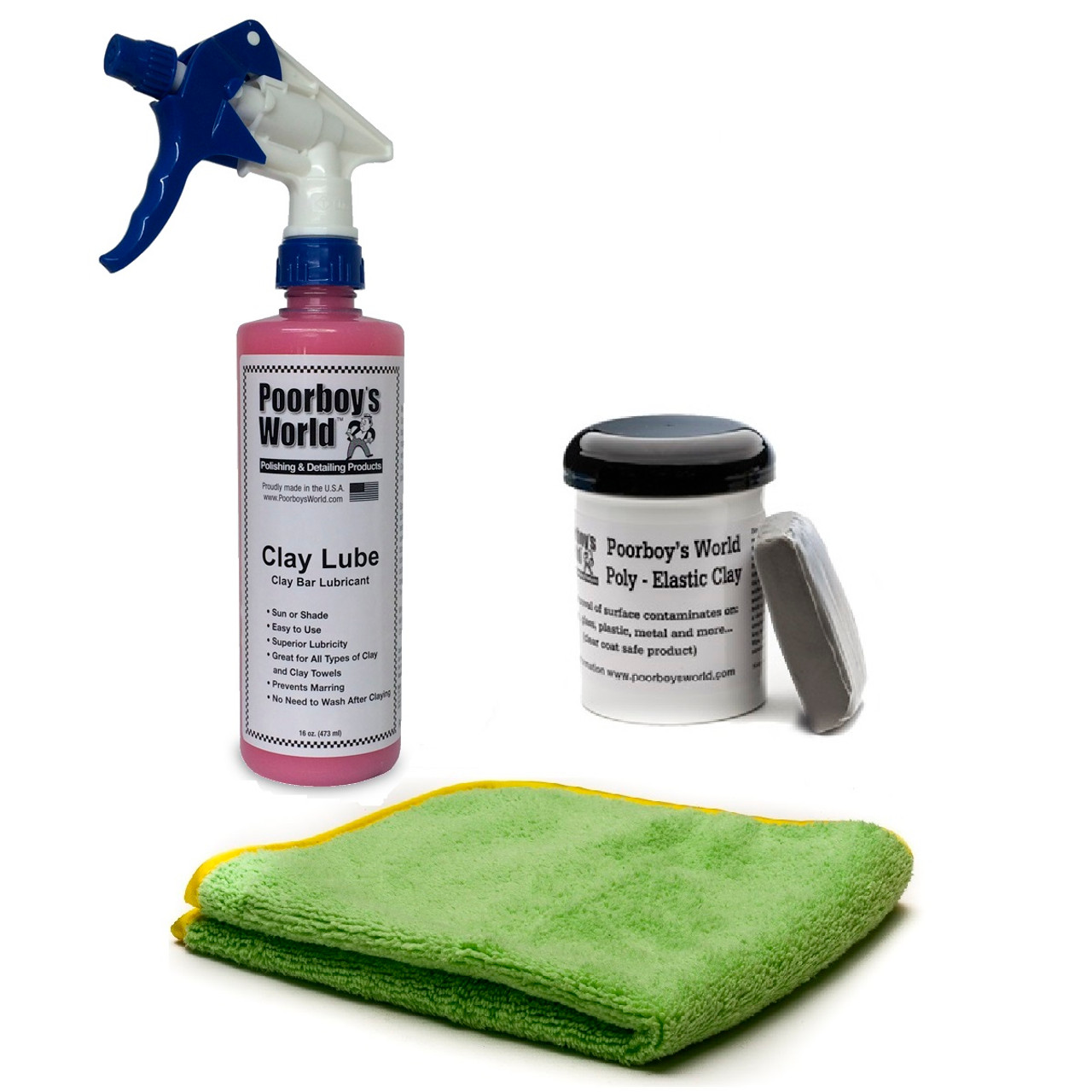 Single Clay Bar Kit - 4oz Clay Bar, 16oz Clay Lube, DMT Microfiber Towel