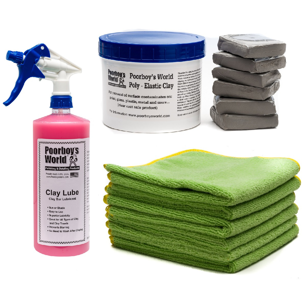 Super Deluxe Clay Bar Kit - 6 Clay Bars, 32oz Clay Lube, 6 DMT Microfiber Towels