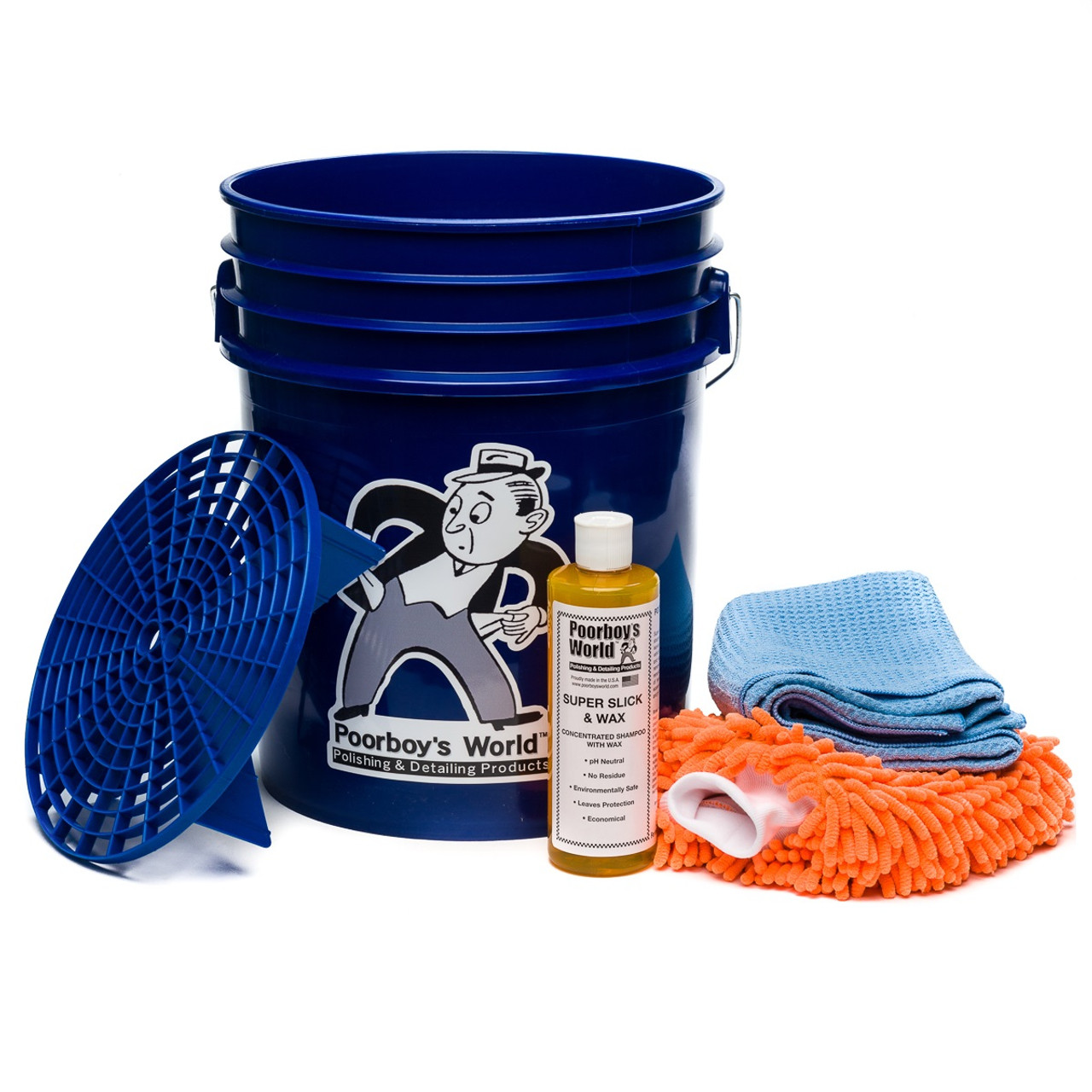Poorboy's World Car Wash Bucket Special Starter Kit - Blue Bucket