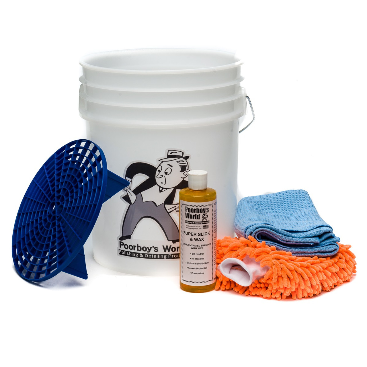Poorboy's World Car Wash Bucket Special Starter Kit - White Bucket