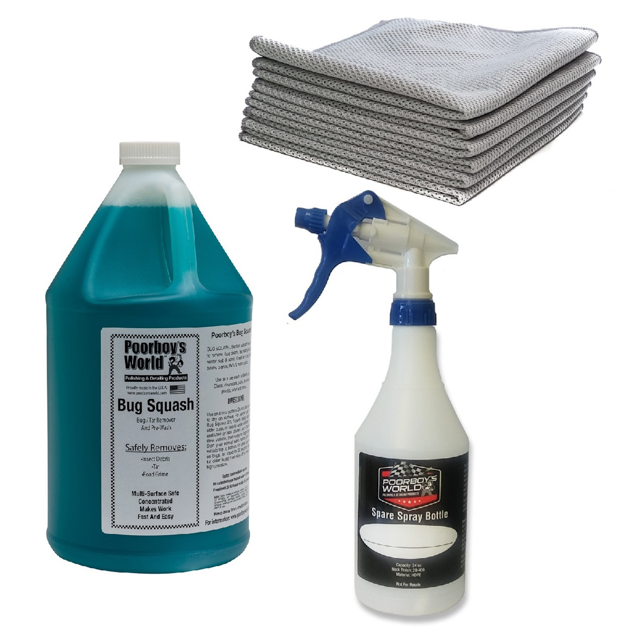 """Poorboy's World Bug Remover Kit - Bug Squash Gallon Concentrate w / 6 Pack Mesh Bug Towels - 12""""x12"""" and Spare Spray Bottle"""