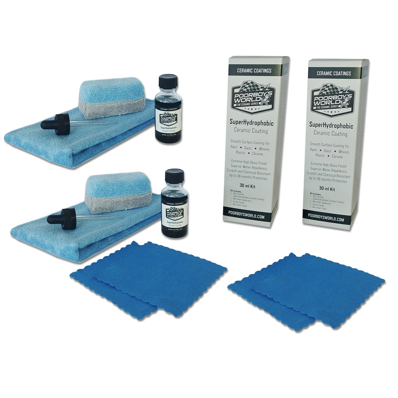 Poorboy's World SuperHydrophobic Ceramic Coating 60 ml Kit (30 ml x 2)