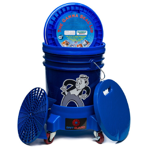Car Wash Bucket Kit w/ Dolly, Grit Guard, Gamma Seal Lid & Padded Seat Cushion - Blue Bucket