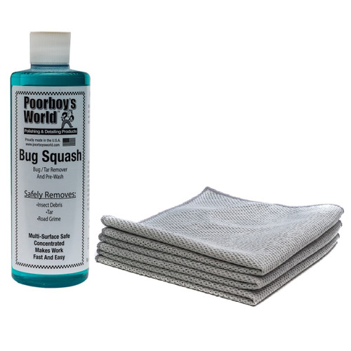 "Poorboy's World Bug Remover Kit - Bug Squash 16oz Concentrate w / 3 Pack Mesh Bug Towels - 12""x12"""