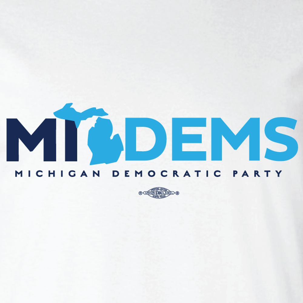 """MI Dems"" logo graphic on  (White Tee)"