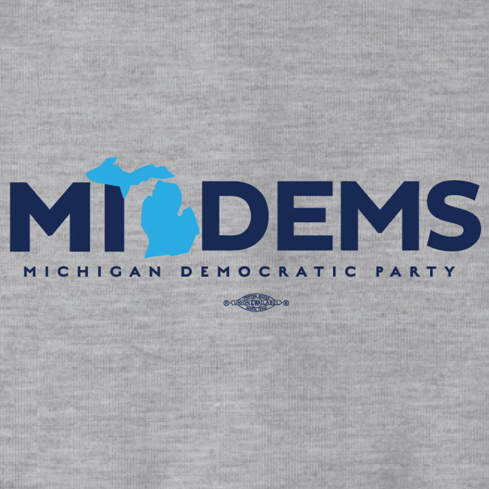 """MI Dems"" Logo Graphic (Dark Ash Adult Hooded Pullover Fleece)"
