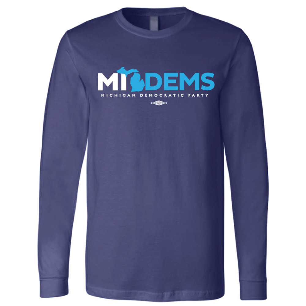 """MI Dems"" Logo Graphic (Navy Long-Sleeve Tee)"