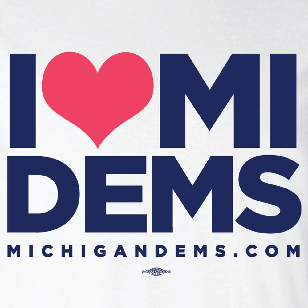 I Heart Michigan Dems (White Tee)