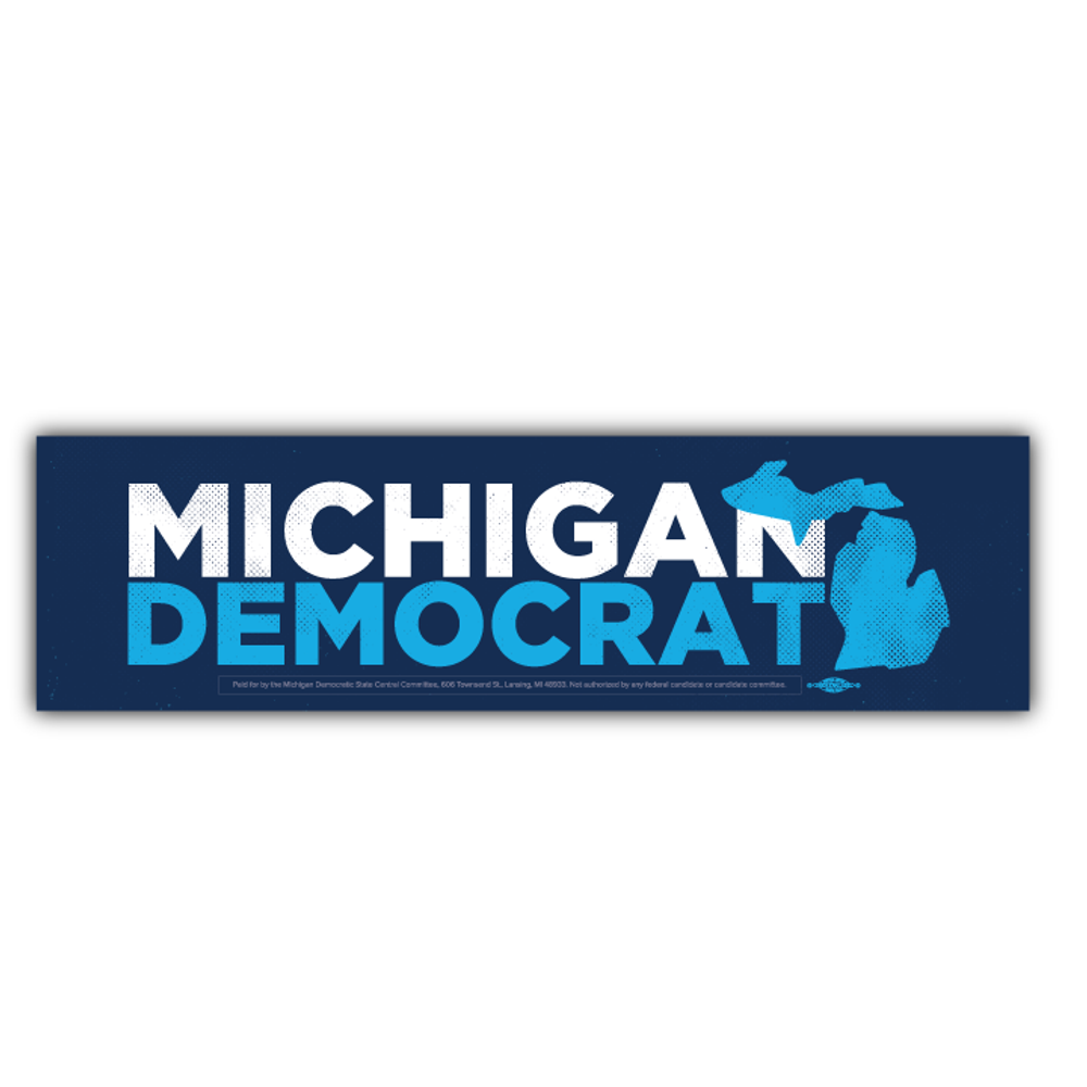 "Navy Michigan Democrat  (11"" x 3"" Vinyl Sticker -- Pack of Two!)"