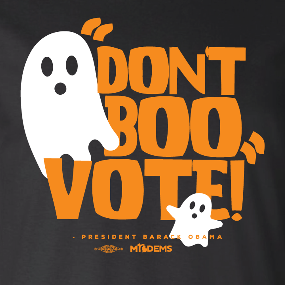 """""""Don't Boo, Vote!"""" graphic on (Black Tee)"""