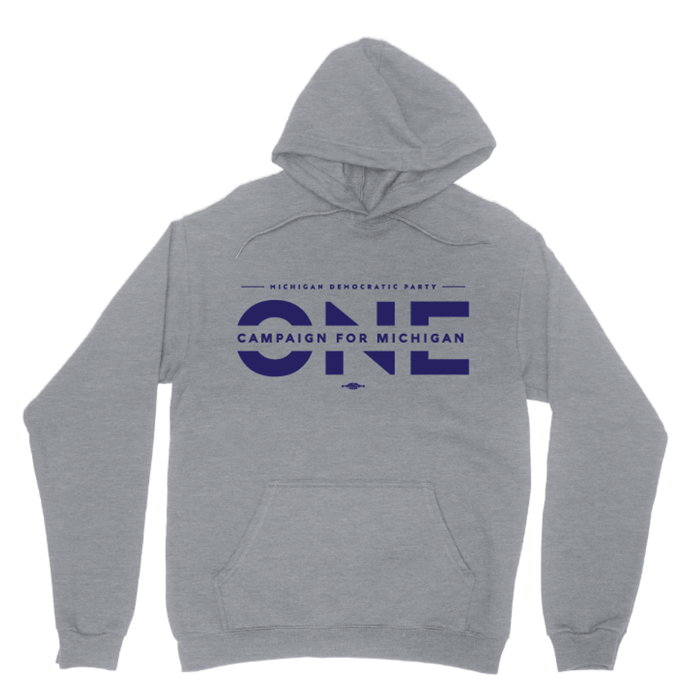 ONE Campaign For Michigan (Dark Ash Adult Hooded Pullover Fleece)